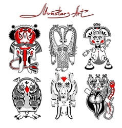 Original modern cute ornate doodle fantasy monster vector