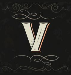 Retro style western letter design letter v vector