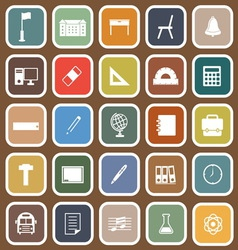 School flat icons on brown background vector