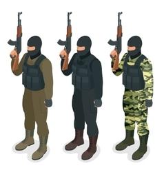 Spec ops police officers SWAT in black uniform vector image vector image