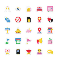 Summer and holidays icons 8 vector