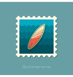 Surfboard on the water stamp Summer Vacation vector image vector image