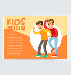 teen boy beating by another kid suffering from vector image vector image