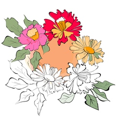 Template for greeting card with flowers vector