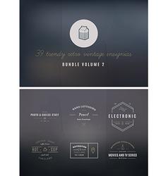 Trendy Retro Vintage Insignias Bundle Volume vector image vector image