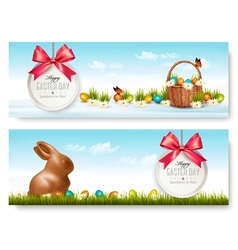 Two easter banners vector