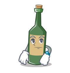 Waiting wine bottle character cartoon vector