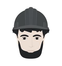 Working man in gray hard hat vector