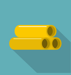 yellow pipes icon flat style vector image