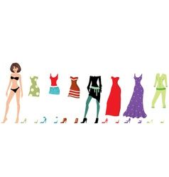 Young beautiful paper dolls with clothes set vector image vector image