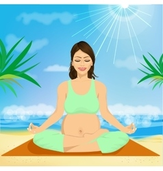 Young pregnant woman sitting in yoga pose vector