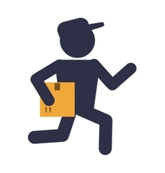 Box man package delivery design vector