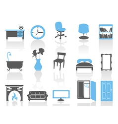 Simple interior furniture icons setblue series vector