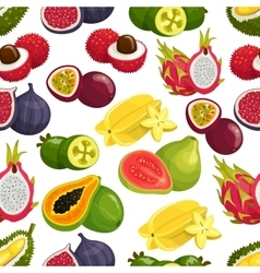 Exotic fresh fruits pattern vector