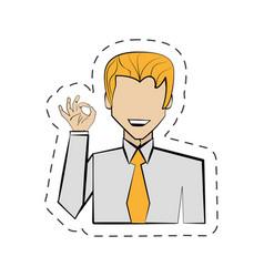 portrait man hand ok cartoon vector image
