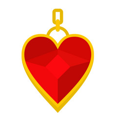 red heart shape gemstone pendant icon isolated vector image