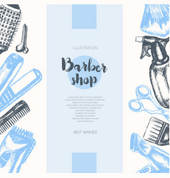 Barber equipment - hand drawn banner vector