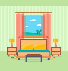 Bedroom interior design in flat style including vector