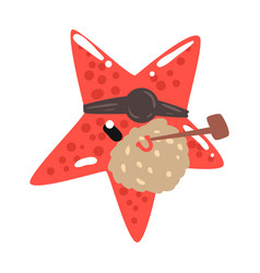 Funny cartoon red starfish pirate with an eye vector