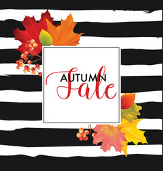 Colorful sale card or banner with autumn leaves vector