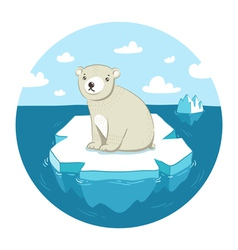Polar bear on ice vector