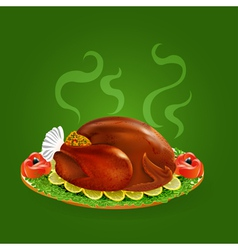 Stuffed turkey with salad vector