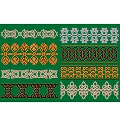 Celtic linear borders and ornaments vector image