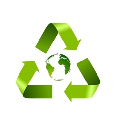 Green recycle logo and globe isolated on white vector