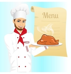 Male chef holding tray with roasted turkey vector