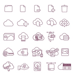 Linear icons for cloudy service vector
