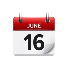 June 16 flat daily calendar icon date vector