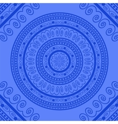 Blue circle lace ornament vector