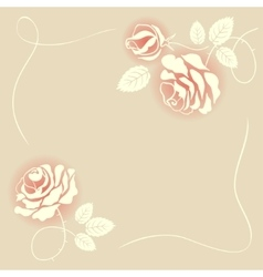 Delicate beige card with roses vector