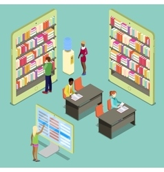 Isometric digital library and reading people vector