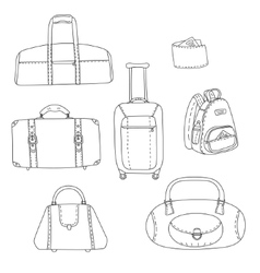 Black and white travel bags linear drawings set vector