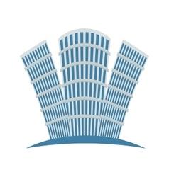 Blue buildings line sticker design vector image