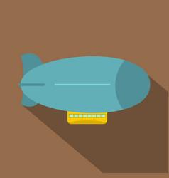 blue retro dirigible icon flat style vector image