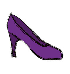 blurred colorful silhouette of high heel purple vector image