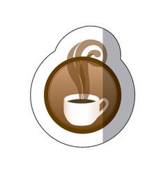 Brown round symbol of coffee cup vector
