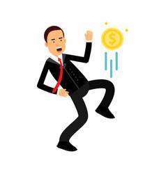 Businessman character kicking dollar coin like vector