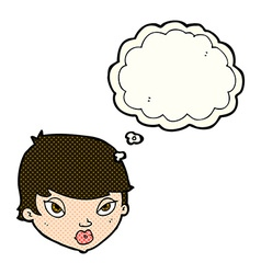 cartoon unimpressed woman with thought bubble vector image vector image
