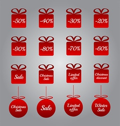 Christmas pricing tags- red gift and bauble shapes vector image