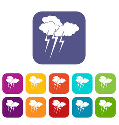 Cloud with lightnings icons set vector