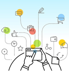 Digital marketing concept via modern digital vector image