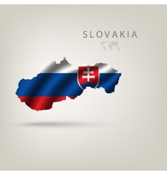 Flag of slovakia as a country with a shadow vector