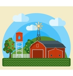 Flat farm landscape vector