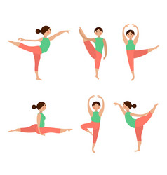 flat icons set of yoga poses vector image vector image