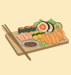 Japanese food sushi salmon fish vector