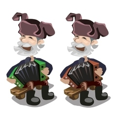 Old man playing harmonica character vector