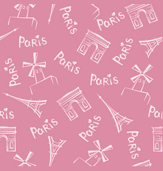 paris city seamless pattern travel france tile vector image vector image